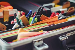 Office stationary organised into compartments